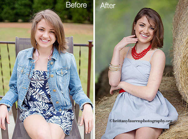 Before and After hair and makeup senior session