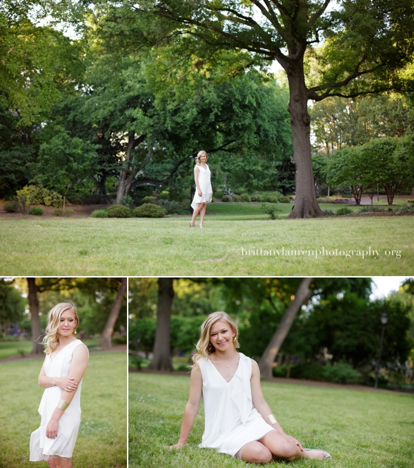 Outdoor senior session with white dress