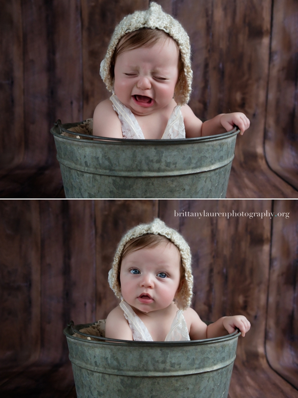 Crying baby in a bucket