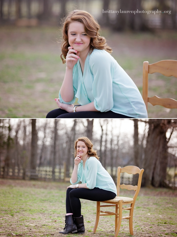 senior picture mint green shirt