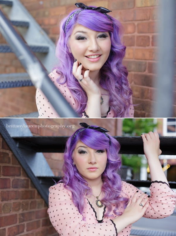 Senior with purple  hair