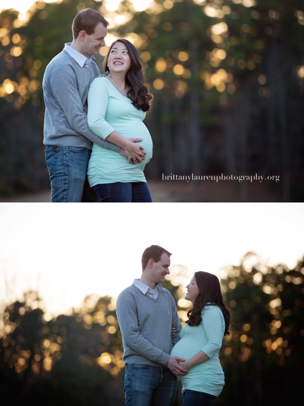sunset couple maternity pictures