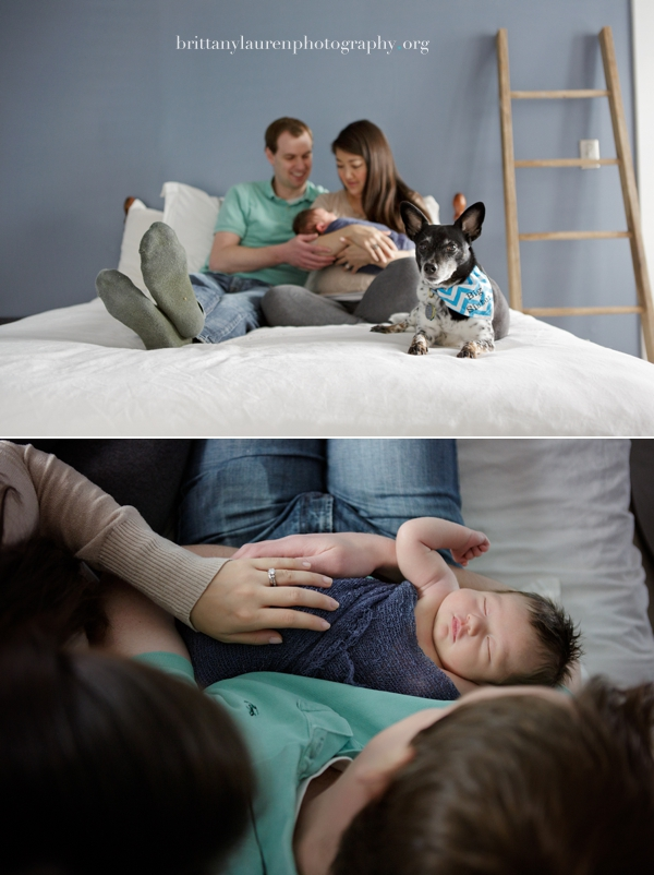 Newborn photography in parent's bed