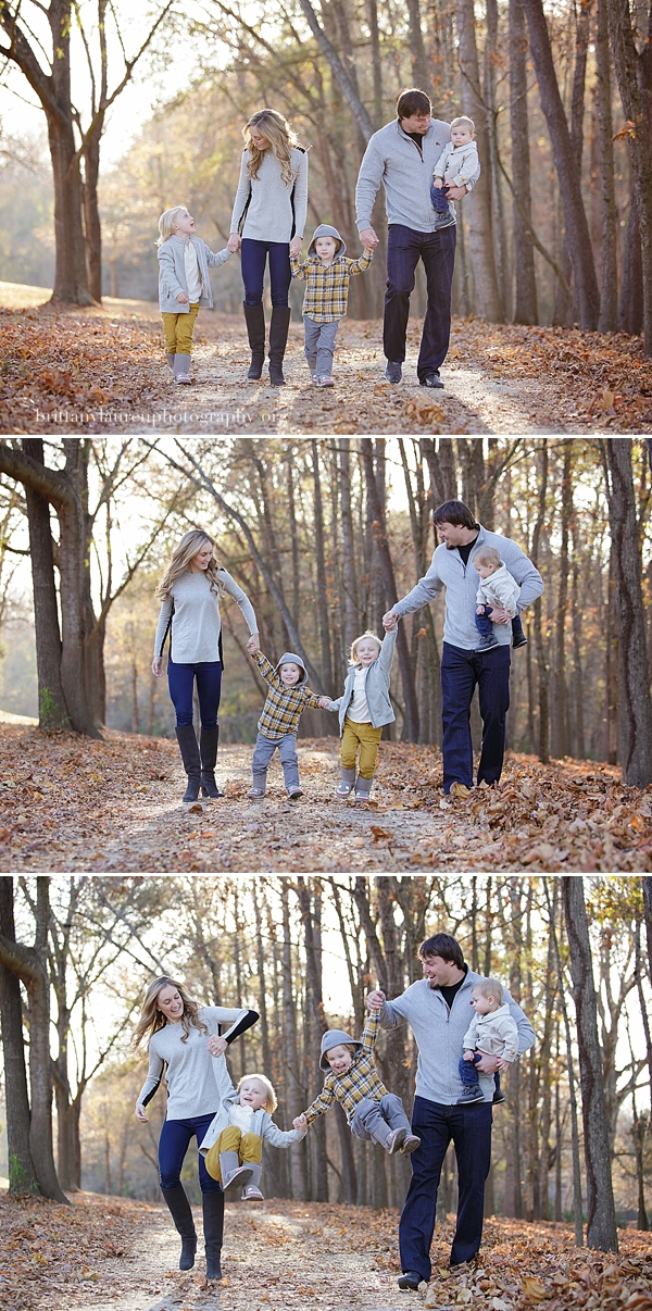 Mom and dad play with kids