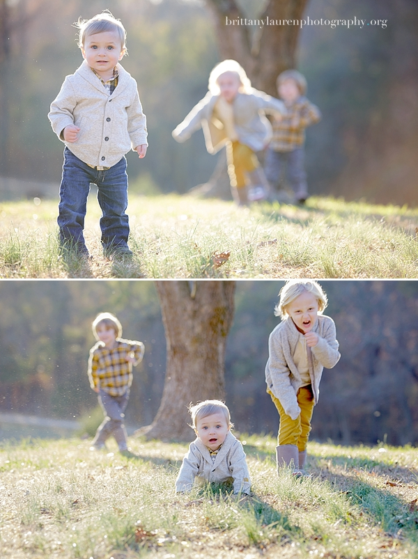 young brothers playing in a field